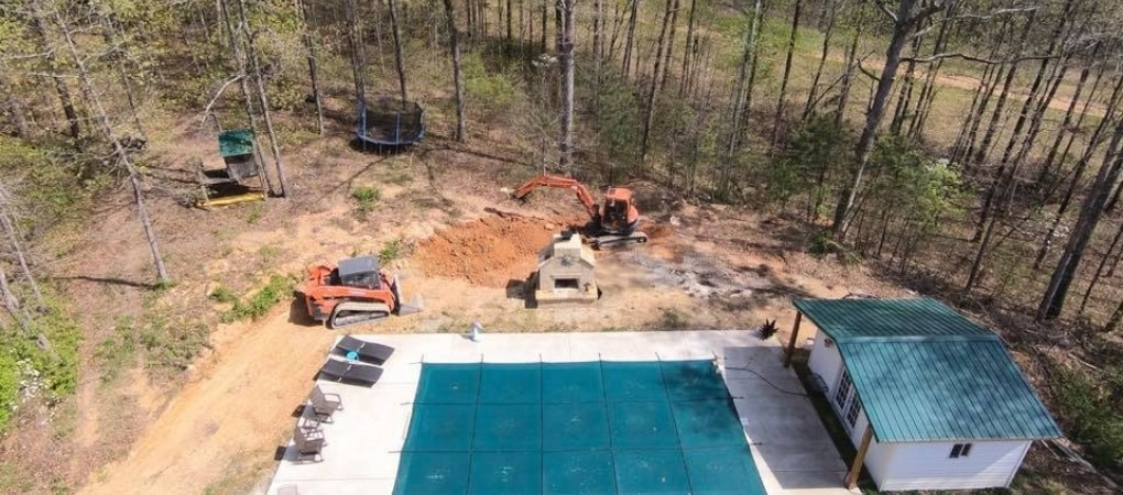 Before Backyard Pool Landscape Installation