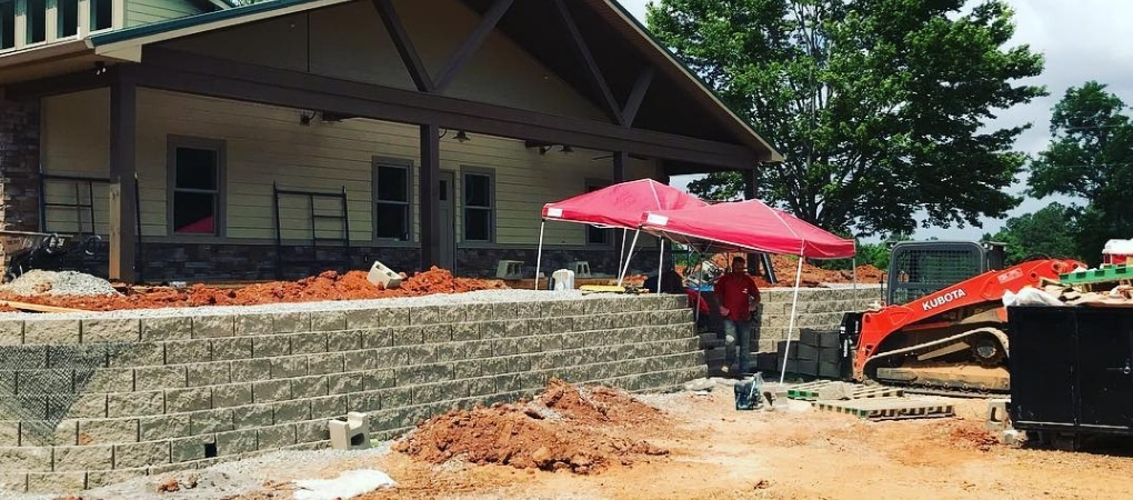 Retaining Wall Being Built By Callaway Outdoor
