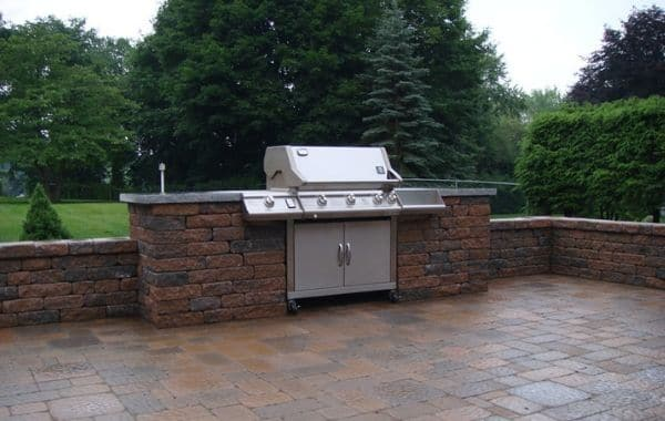 Gas Grill Incorporated In Hardscaping