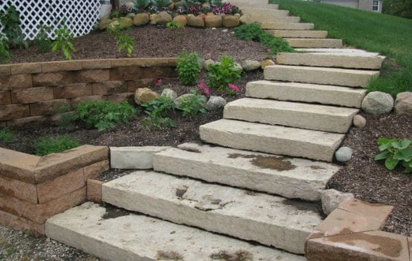 Natural Stone Steps In Landscape