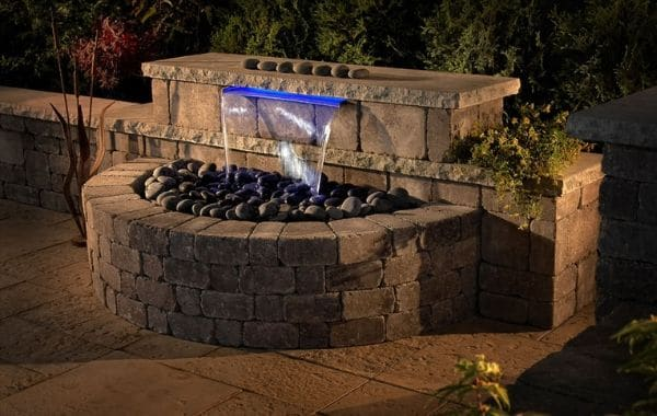 Paver Patio with Lighting and Water Feature
